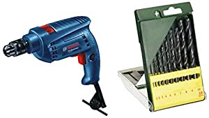 Bosch GSB 501 500-Watt Professional Impact Drill Machine (Blue) & Bosch HSS-R Metal Drill Bit Set (10-Piece)