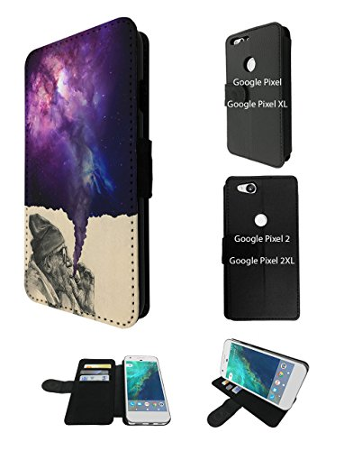 003032 - Old Hobo Smoking Weed Tornado Galaxy Design Google Pixel 2 XL 6.0