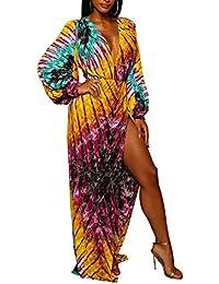 OUFour Primavera Otoño Mujer Africano Impresión Maxi Vestido de Partido  Cóctel Paquete de Cadera Vestido con 530a940ab43a