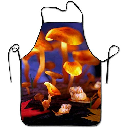 ouyjian Aprons Magic Mushrooms 3D Model Deluxe Cute Aprons Chef Kitchen Cooking and Men & Women Baking Bib BBQ - High Elf Female Kostüm
