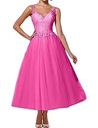 c7eb1a4189d22d Topkleider Damen Glamour Rosa 2019 V-Neck Spitze Zwei-Traeger Tuell  Abendkleider Wadenlang Partykleider