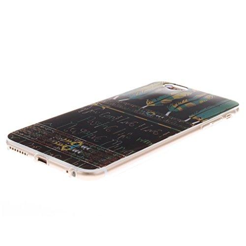 Pour iphone 6 Plus / 6S Plus Coque - 5.5 inch, MYTHOLLOGY - Rétro Fleur Doux Flexible, Premium Silicone TPU Arrière Housse Etui Beau Plume