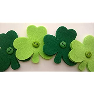 6 Fake Artificial Felt Flowers, Applique, Arts and Crafts, Embellishments, Shamrock Lucky 4 Leaf Clover Irish St Patrick's Day, Scrap Booking, Wreath Making, Brooch, Pin, Sewing Ideas, Ready to Use.