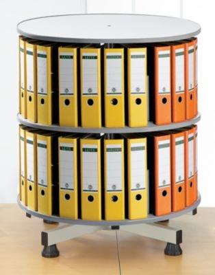 Ordner-Drehsäule - Ø 800 mm, Tisch-Ausführung - 2 Etagen, hellgrau - Aktenablage Drehsäule für Ordner Drehsäulen für Ordner Ordnerdrehsäule Ordnerdrehsäulen Ordnungssystem Registraturdrehsäule Registraturdrehsäulen Registratursystem Sortieranlage