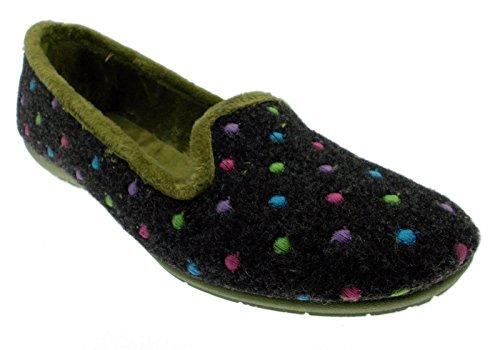 pantofola panno feltro grigio verde pois 41 verde