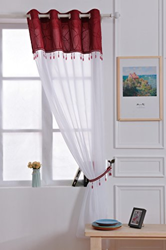 X 1joya borla de cuentas con ojales Panel de pura cortina de voile c