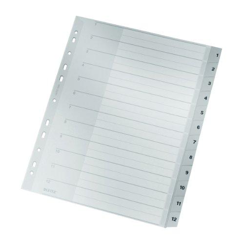 Leitz Plastikregister (1-12, A4, PP, 12 Blatt) grau