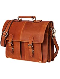 Zakara Genuine Tan Leather, Mens Vintage Leather Messenger Bag, Leather Laptop Portfolio Bag, Mens Briefcase,...
