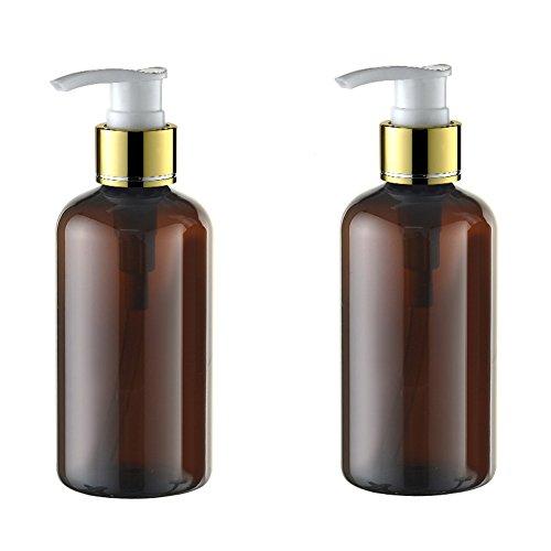 2pcs 220ml 7.4oz ricaricabile Vuoto in plastica marrone, crema di sapone liquido spray bottiglia Barattoli Cosmetici Bagno Doccia Shampoo Sapone Liquido Toiletries Contenitori