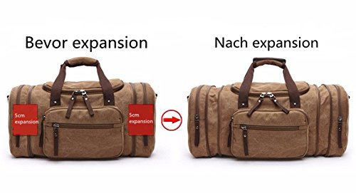 Limirror vintage Canvas Reisetasche Sporttasche weekender Tasche für Damen und Herren mit der Großen Kapazität (Schwarz) Kaffe