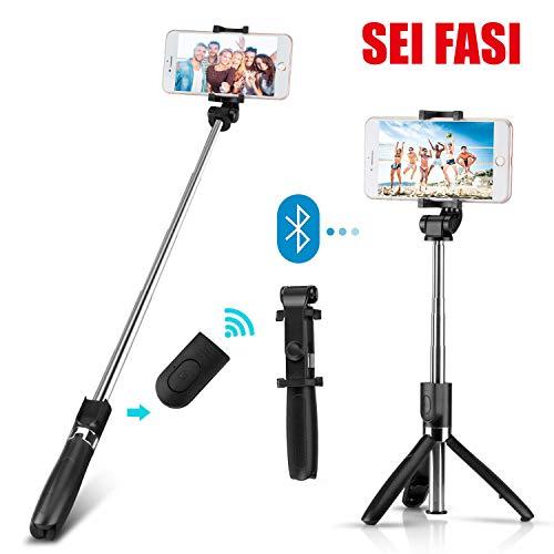 Yimidon Bastone Selfie Bluetooth Estensibile, Selfie Stick Treppiede con Wireless Remote Shutter per iPhone X/XR/7/8/XS/6S/Max, Huawei P30/P20/P10/P9/PRO/Mate, Samsung A7/S9/S8/S7 Edge, Xiaomi