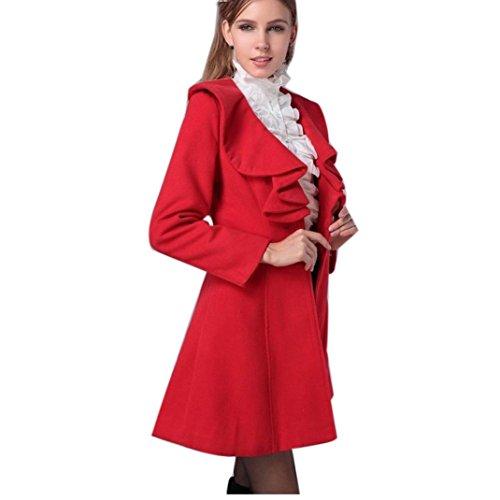 Koly _Le donne oversize pipistrello manica Maglione allentato Outwear Coat Rosso