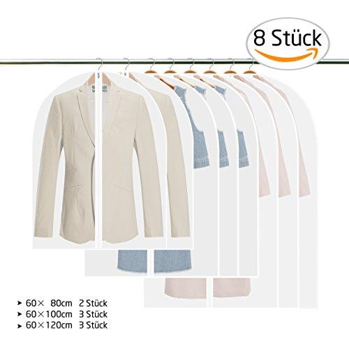 GVOO Kleidersäcke, 8 Stück Wasserdicht Anzugsack Kleiderhülle Anzughülle aus PEVA inkl. 3 von 120 × 60 cm und 100 × 60 cm, 2 von 80 × 60 cm - Weiß