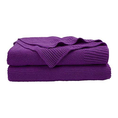 PICCOCASA 100% Baumwolle Stricküberwurfdecke - Soft Fest Dekorative Gestrickte Decke für Sofa-Couch Schlafzimmer Lila 50