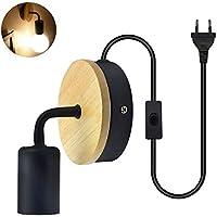 Bonlux Negro E27 Led Lámpara Vintage Retro de Pared, Portalámpara E27 con Interruptor, Lámpara Industrial Lofty para Exterior, Interior (con EU Enchufe, sin Bombilla)