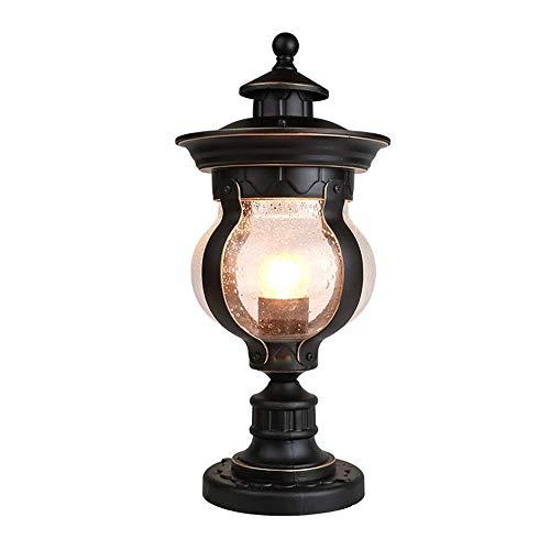 Oval Basis Lampe (Magosca Amerikanischen E27 Outdoor Oval Blase Glas Garten Spalte Lampe Vintage IP45 Wasserdicht Aluminiumdruckguss Säule Pfad Licht Gemeinschaft Tür Landschaft Hof Dekorative Post Licht)