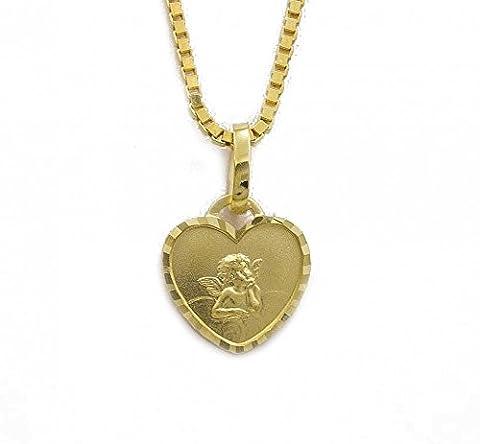 ASS 333 Gold Anhänger Herz mit Engel,Schutzengel,Amor, mit Gravur 'Gott