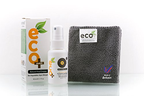 Price comparison product image Ecomoist Vinyl Cleaner Kit 50ML with Fine Microfiber Towel , Made in the UK. Green product.