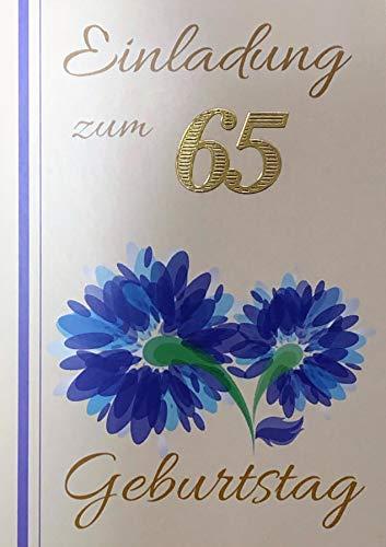 Einladungskarten 65. Geburtstag Frau Mann mit Innentext Motiv blaue Blumen 10 Klappkarten DIN A6 im Hochformat mit weißen Umschlägen im Set Geburtstagskarten Einladung 65 Geburtstag Mann Frau K227
