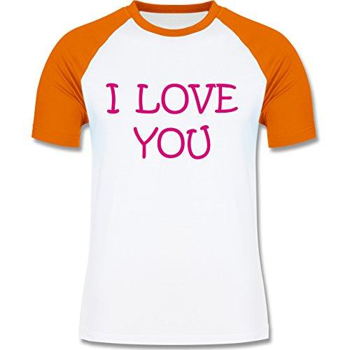Valentinstag - I Love You - zweifarbiges Baseballshirt für Männer Weiß/Orange