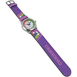 Adora Young Line Metal Watch with Black Dial Analogue Display Time Teaching Clock for Children with Leather/Textile Band 30164
