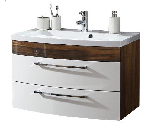 Posseik 5869-91 Waschplatz Rima 80 cm, Weiß / Walnuss -