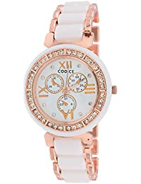 Codice Quartz Movement Analogue White Dial Women's Watch (Rose Gold, Codice-Womenwatches-MeenaWht)
