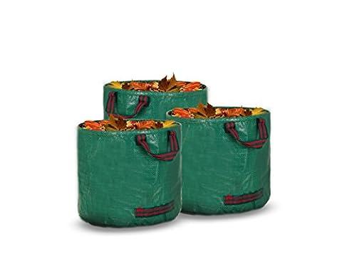 Livivo® Heavy Duty Grande Lot de 3Premium Sacs à déchets de jardin avec 3Coutures doubles Poignées en toile de qualité premium 150g/m² Tissu tissé par Sac, Matériau résistant, Sac de rangement pour mauvaises herbes, feuilles, herbe 60L each bag (Height 38cm, Diameter