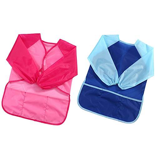 XINXUN 2 Stück Wasserdicht Malschürze Kinder mit 3 Taschen für Malerei Kochen Prozess - Einweg Kind-kittel