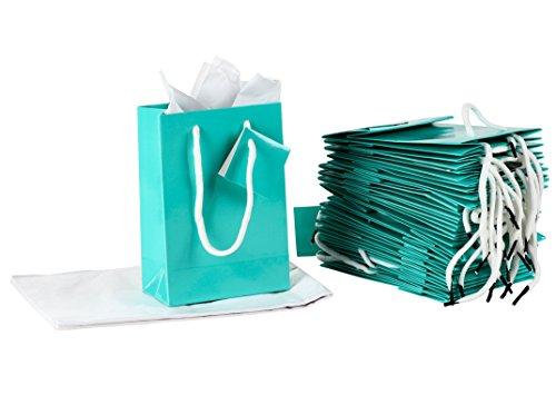 Papier-Geschenktüten - 20 Stück kleine Partygeschenktüten, Mini-Papiertüten, Seidenpapier, glänzende Oberfläche, Blaugrün, 12 x 17 x 6,3 cm