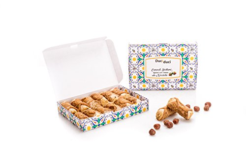 12 sizilianische Cannoli - Duci duci - Hausgemachtes Gebäck, sizilianische Cannoli gefüllt mit Haselnusscreme - sizilianisches Kunsthandwerk