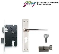 GODREJ NEH 08 1CK 20cm Zinc Alloy Door Handle Set with Lock Body and Cylinder