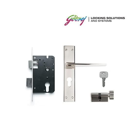 GODREJ NEH 08 1CK 20cm Zinc Alloy Door Handle Set with Lock Body and Cylinder