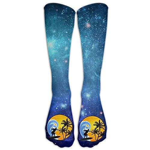 Gped Kniestrümpfe,Socken Surfing Sunrise Casual Unisex Sock Knee Long High Socks Sport Athletic Crew Socks One Size -