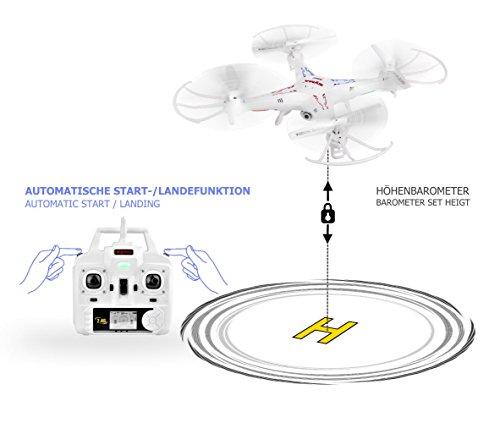 Syma X5C Explorer 2.4 GHz 4-Kanal 3D Quadrocopter Drohne mit Zusatzakku, 360° Flip Funktion, 3.6 MP HD Kamera mit Ton, Motor-STOPP Funktion, 6AXIS Stabilization System, 4GB Micro-SD Speicherkarte und AGETECH SafeFly Sonnenbrille, Weiß - Sonder-Edition - 3