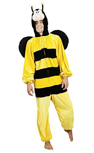 Halloweenia - Herren Motto-Party Karneval Kostüm Honig Biene, Onesie, Komplett-Jumpsuit, One Size, Gelb