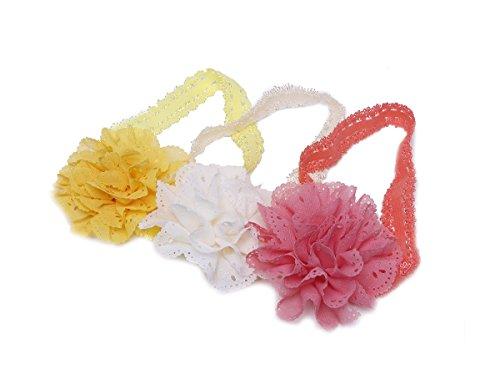 Futurekart Mesh Flower Eyelet Baby Girls Elastic Pink Headband Set of 3 (Yellow Pink Orange)