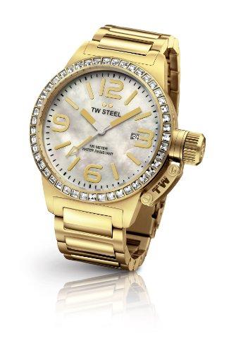 TW Steel  Canteen Style bracelet - Reloj de cuarzo para mujer, con correa de acero inoxidable chapado, color dorado