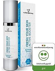 Veganes Hyaluronsäure Serum hochdosiert   Anti Aging + Anti Falten Power, die deine hauteigenen Hyaluron-Polster optimal ergänzen   reinste hochdosierte Qualität mit vier 4! Inhaltsstoffen   50ml