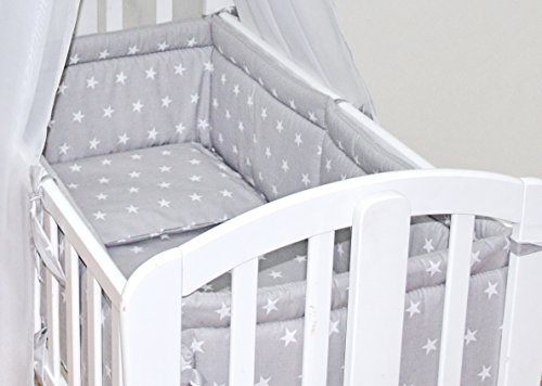 6pcs BABY SWINGING/ ROCKING CRIB /CRADLE BEDDING SET/ALL ROUND BUMPER 100% COTTON (Grey Stars)