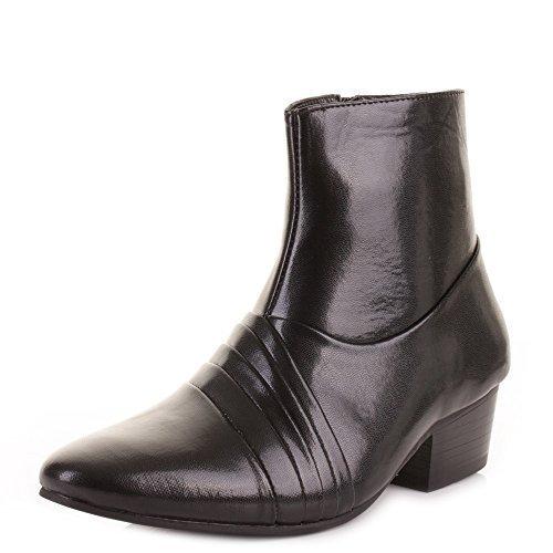 Herren-Stiefelette, elegante, formelle schwarze Schuhe in Lederoptik, für Hochzeit und formale Gelegenheiten, kubanischer Absatz, Schwarz - Schwarz (Black Pu) - Größe: 42 EU
