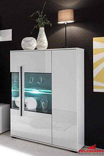 Stauraumvitrine Glasvitrine mit LED-Beleuchtung 90cm 2-türig 440946 weiß