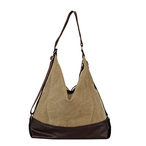 Einfache Handtasche Schulter Diagonale Große Tasche Segeltuchbeutel Beiläufige Beuteldamen Große Kapazität Brown