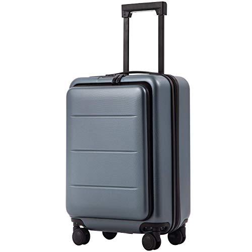 COOLIFE Business-Trolley Reisekoffer Vergrößerbares Gepäck (Nur Großer Koffer Erweiterbar) ABS+PC Material mit TSA-Schloss und 4 Stumm schalten Rollen (Nacht Blau, Handgepäck(S))