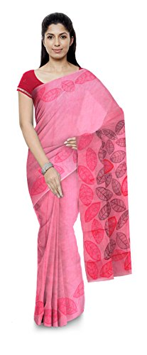 Poushali Boutique Traditional Bengali Handloom Cotton Women's Saree (Red)