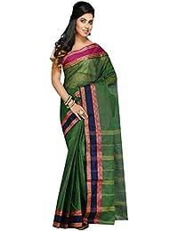Badal Textile Handloom Cotton Tant Saree, Traditional Bengali Wear (Green)