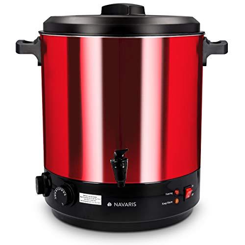 Navaris Macchina per conserva elettrica 1800W - Pentola conserve 27l con rubinetto - Bollitore distributore bevande calde in acciaio inox - rosso
