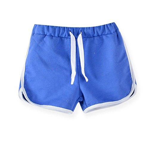 Jungen Shorts Abgeschnitten (LaoZanA Kinder Jungen Mädchen Kordelzug Sommer Shorts Kurze Hose Hotpants Dunkelblau 120)