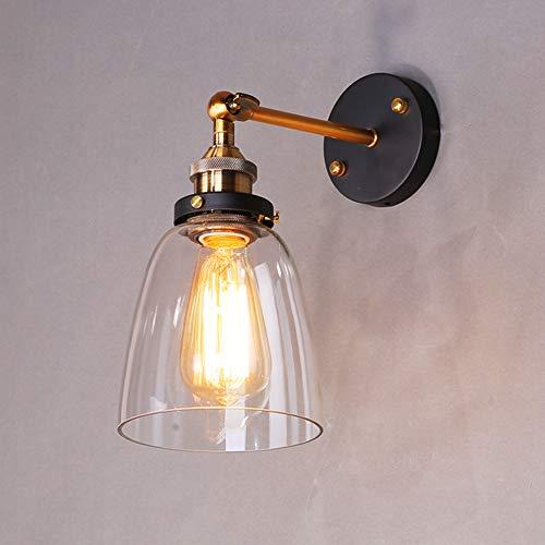 Maxmer Apliques de Pared Luz Vintage Industrial Lámpara de Pared Casquillo E27 Cristal para Restaurant...