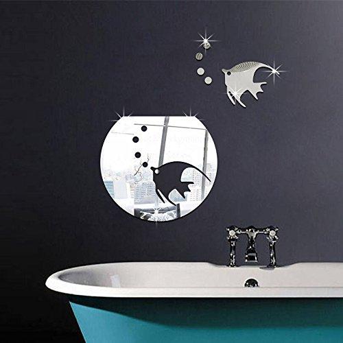 Pegatina pared vinilo decorativo acrilico efecto espejo peces plateados y pecera para cuartos de baño WC mamparas spa de CHIPYHOME